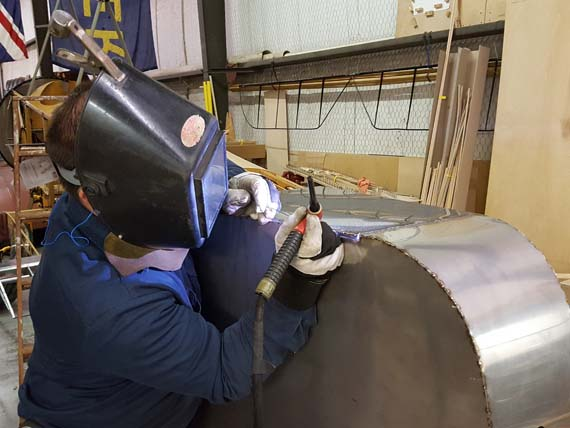 Welding up the seams on the petrol tank for Sopwith 1 1/2 Strutter
