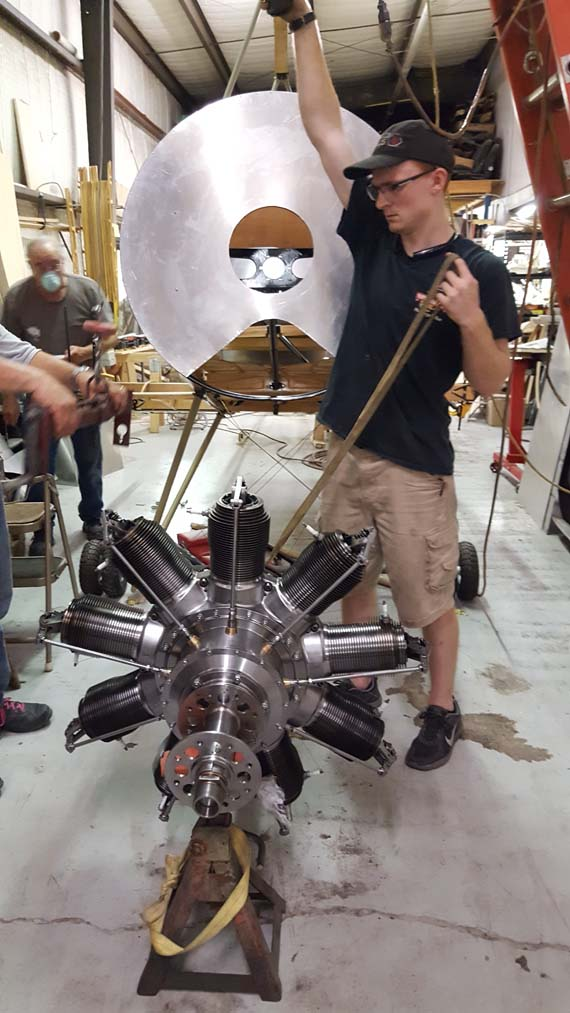 Installation of new production Gnome rotary engine on Sopwith 1 1/2 Strutter fuselage