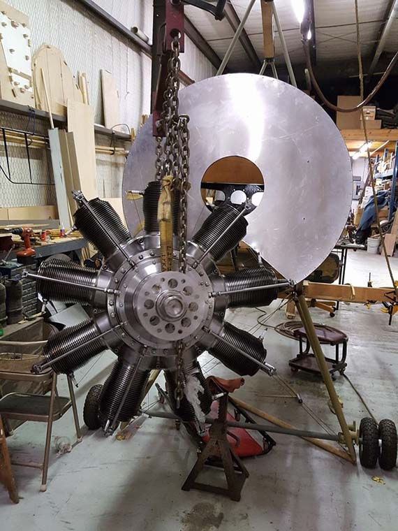 Gnome rotary engine installation on Sopwith 1 1/2 Struter