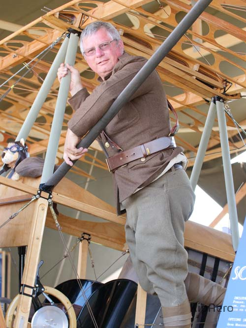Flight Commander Kip Lankenau on Sopwith Strutter at EAA AirVenture 2018.