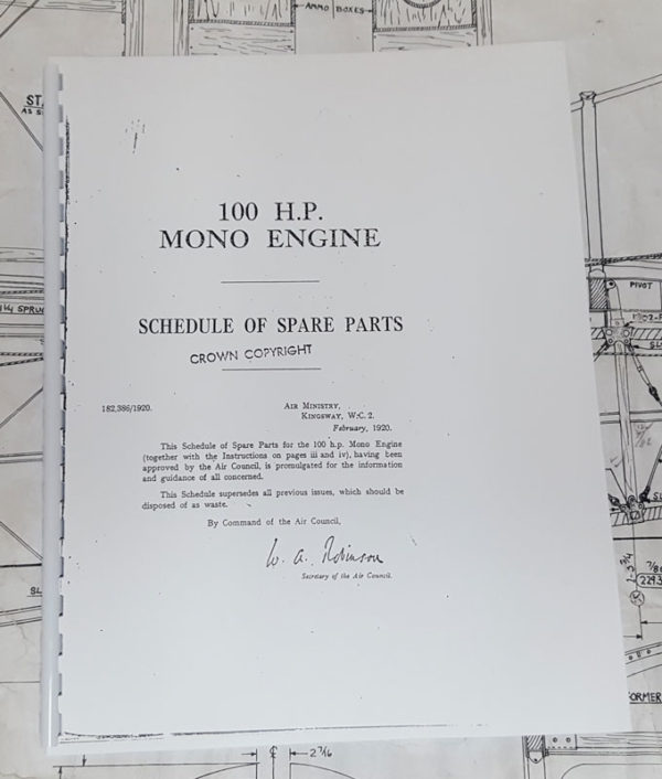 Parts Manual for Gnome 100hp rotary engine