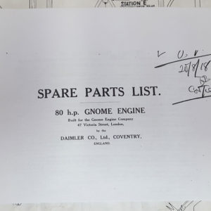 Parts manual for Gnome 80hp rotary engine